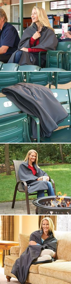 The Cordless Heated Throw. Ideal for outdoor sporting events, untethered use on the couch, or chilly airplane cabins, this soft throw is woven from plush fleece, with an exterior shell that repels water and wind and a cozy lining that traps heat close to the body.
