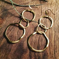 Brass links earrings by HanawearJewelry on Etsy