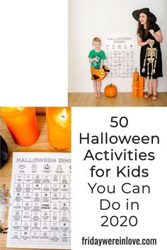 Halloween 2020: Don't let a different year put a damper on the holiday fun! Here are 50 fun Halloween Activities you can do throughout the season with a free printable to help inspire Halloween fun!  #fridaywereinlove