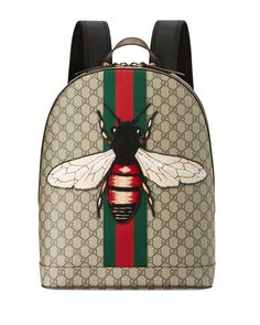 352d451a215 Gucci Animalier backpack in GG supreme canvas with hand-embroidered and  -applied bee appliqu