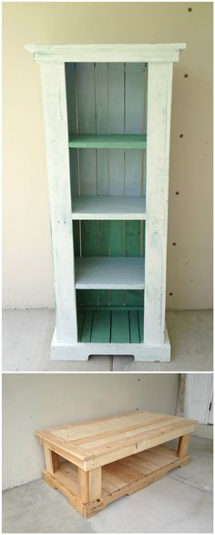 Pallets Bookshelf & Table #PalletBookshelf, #PalletTable, #RecycledPallet