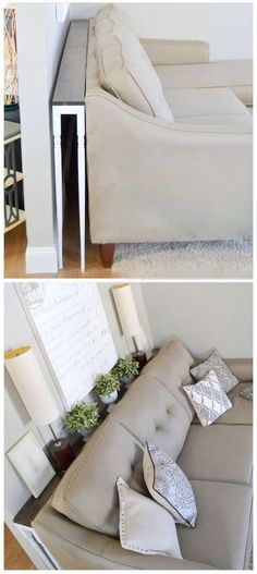 DIY Hacks for Renters - Skinny Sofa Table - Easy Ways to Decorate and Fix Things. - Home Decor. DIY Hacks for Renters - Skinny Sofa Table - Easy Ways to Decorate and Fix Things Home Living Room, Home Projects, Home Decor, Apartment Decor, Home Diy, Small Space Living, Diy Sofa, Home And Living, Diy Sofa Table