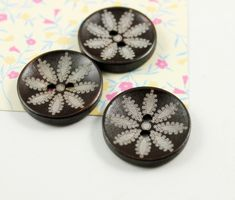 Wooden Buttons - Japanese Style Brown Concave Wooden buttons with Eight Petal Flower pattern. 1 inch. 10 pcs by Lyanwood, $5.50