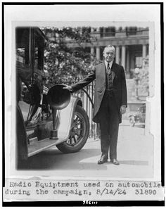Radio equipment used on automobiles during the campaign Calvin Coolidge, Roaring 20s, Library Of Congress, Pennsylvania, Thrifting, Presidents, Campaign, American, Car