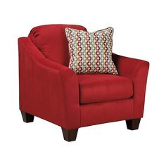 Hannin Chair ($630) ❤ liked on Polyvore featuring home, furniture, chairs, red, upholstery chairs, red contemporary chair, red upholstered chair, upholstery furniture and colored chairs