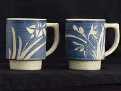 Japan Handcrafted Painted Blue/Floral Carved Stoneware Pottery Coffee Mugs 2 Set