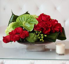 Modern low arrangement of red roses, caffe bean, green ball , hydrangea, and anthurium Tropical Flower Arrangements, Modern Floral Arrangements, Artificial Floral Arrangements, Beautiful Flower Arrangements, Tropical Flowers, Beautiful Flowers, Christmas Arrangements, Christmas Centerpieces, Floral Centerpieces