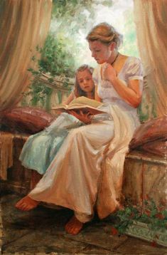 Peach and Green in Art / Terrace Morning, by Trent Gudmundsen, (American, Reading Art, Woman Reading, Kids Reading, Ed Wallpaper, Art Occidental, Foto Art, Mother And Child, Mothers Love, Oeuvre D'art
