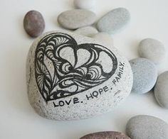 Love Stone - Heart love family weddings favors decoration natural unique gift  grafic art rock grey