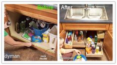 how to build DIY kitchen sink storage organizing trays