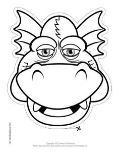 Grinning Dragon Mask to Color Printable Mask