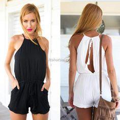 Sexy Women Halter Jumpsuit Trousers Playsuit Short Pant Catsuit Summer Clubwear #BrandNew #Jumpsuit