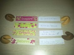 """In my continued efforts to be creative with my love notes in the kids' lunches, I thought this might be a fun surprise (and a good way to use leftover fortune cookies).....I cut the border from some notepads I have, and wrote something that corresponds with the word on the back.....folded them up and tucked them into the cookies. :) (gasp!...I just noticed I missed the second 'o' on """"too"""" in one of them!)"""