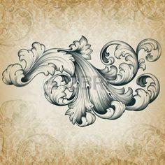 vintage baroque engraving floral scroll filigree design frame border acanthus pattern element at retro grunge damask background photo