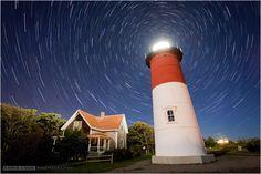 Stars trail above Nauset Lighthouse on Cape Cod, Massachusetts, USA