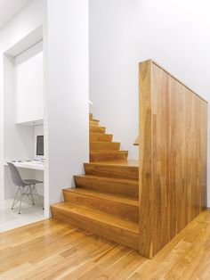 Modern wood staircase.