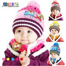 Warm Baby Hat New 2016 Winter Baby Boys Girls Christmas Hat + Add Neckerchief 2pcs Newborn Crochet Outfits High quality(China (Mainland))