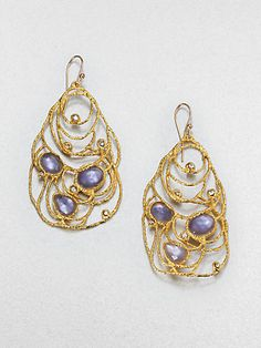 Alexis Bittar - Iolite and Mother-of-Pearl Lace Earrings - Saks.com