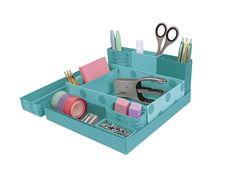 Kikkerland Design Inc » Products » Foldable Paper Desk Organizer + Blue