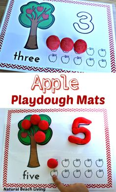 Free Apple Play Dough Mats Perfect Fall number mats for preschoolers or an Apple Activity, Free playdough mats for counting activities Apple Activities Kindergarten, Preschool Apple Theme, Playdough Activities, Fall Preschool, Preschool Themes, Autumn Activities, Preschool Learning, In Kindergarten, Preschool Activities