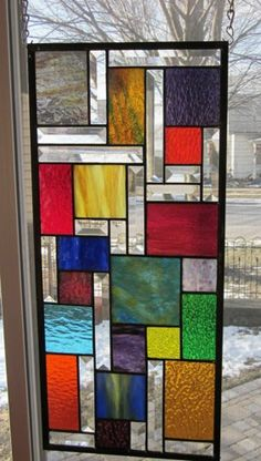 Prismatic Stained Glass Window Panel Abstract Geometric EBSQ ...