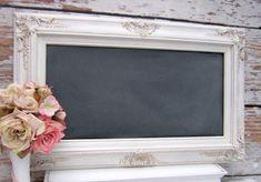 "VINTAGE WEDDING DECOR Chalkboard 31""x20"" Wedding Ideas Engagement Gift Bridal Shower French Country Kitchen Ornate Blackboards Shabby Chic"