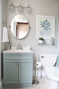 How to paint bathroom cabinets @ Home Idea Network--- love the gray color on the cabinets and the same color around the mirror. Description from pinterest.com. I searched for this on bing.com/images