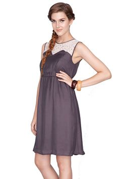 Kaya Lace Trim  Nursing Dress in Grey. Please use coupon code NewProducts to receive 15% off these items. To receive the discount, please place your order by midnight Monday, April 6, 2015