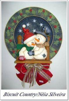 . Biscuit, Pasta Flexible, Cold Porcelain, Snowman, Decorative Plates, Rocks, Christmas Ornaments, Painting, Ideas