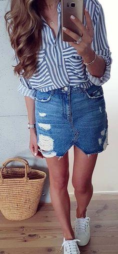 #winter #outfits #casual#blueoutfit#lookofthedy#casualoutfit#polishgirl#jeansskirt#denim#zara#stripes#instafashion#mode#fashion#style#look#ootd#mystyle#modeblog#instagirl#superga#whitesneaker#