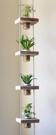 idée pour fabriquer un pot de fleurs suspendu en bocaux en verre