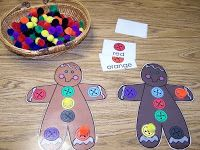 Gingerbread Boy Lesson Plan Cognitive Development * Gingerbread Boy Color Bingo Game Prepare a supply of gingerbread children with c. Christmas Gingerbread, Noel Christmas, Christmas Crafts, Gingerbread Men, Gingerbread Crafts, Christmas Wishes, Christmas Stuff, Christmas Cookies, Preschool Christmas