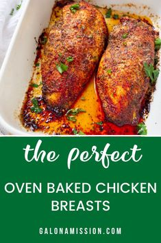 Perfect oven-baked chicken breasts are incredibly juicy healthy and flavored with the perfect amount of seasonings. Best used with boneless chicken breasts and I share a simple foolproof tip on how to bake the juiciest chicken breasts you will ever have! Baked Barbeque Chicken, Juicy Baked Chicken, Oven Chicken Recipes, Oven Roasted Chicken, Baked Chicken Breast, Chicken Breasts, Recipe With Boneless Chicken Breast, Simple Baked Chicken Recipes, Dinner Recipes