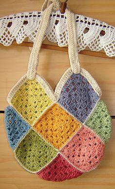 Granny Crochet Bag : Crochet : Bag - Granny Square on Pinterest Granny square bag, Granny ...