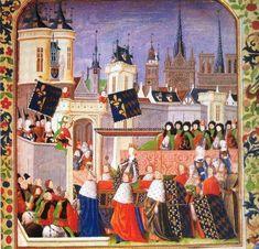 Minature showing Isabeau de Baviere's entry in Paris on 23 August,1389