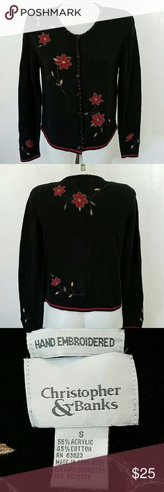 Hand Embroidered Cardigan Sweater Hand Embroidered Cardigan Sweater by Christopher and Banks. In great condition. Size small. Christopher & Banks Sweaters Cardigans