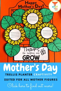 This adorable Mother's Day Trellis Flower Planter will not only please mom, but it will also provide you with the flexibility needed in today's hectic classroom schedules by offering a variety of templates that allow you differentiate the craft based on student needs. Includes preset quotes and writing prompts to suit any mother figure. Click to find out more!  #teacherspayteachers #tpt #mothersday #trellis #craftivity Black And White Sheets, Flower Trellis, Classroom Schedule, Writing Lines, Help Me Grow, Other Mothers, Fathers Day Crafts, Fox Design, Different Flowers