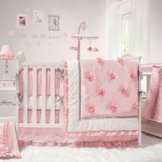 The Peanut Shell® Arianna 4-Piece Crib Bedding Set - BedBathandBeyond.com  For our little girls nursery only with espresso color crib!