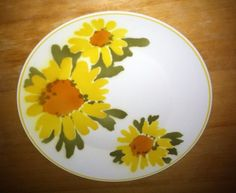 Vintage Mikasa Cera-Stone Round Platter in the Dolly Pattern, w/ Sunflowers! #Mikasa