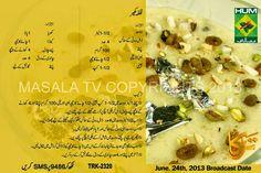 Kulfa kheer Sweet Dishes Recipes, Sweets Recipes, Pakistani Desserts, Masala Tv Recipe, Cooking Tips, Cooking Recipes, Urdu Recipe, Pakora Recipes, Main Course Dishes