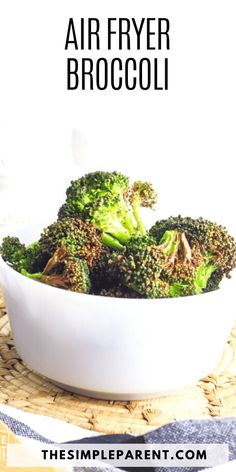 Air Fryer broccoli is an easy vegetable side dish. It's perfect for weeknight dinners or special meals. Serve with or without cheese sauce for a great addition to the dinner table! Easy Vegetable Side Dishes, Side Dishes Easy, Side Dish Recipes, Easy Recipes, Broccoli Recipes, Chicken Recipes, Chicken Meals, Air Fryer Cooking Times, Dinner Sides