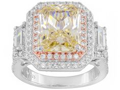 Charles Winston For Bella Luce (R) 11.26ctw Rhodium & 18k Rose Gold Over Sterling Silver Ring