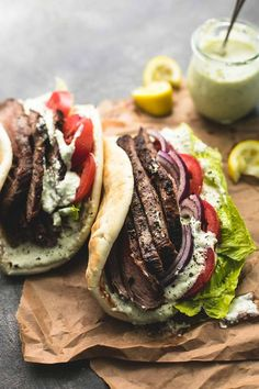 Easy and tasty flank steak gyros with tzatziki cucumber sauce are bursting with hearty flavor. A simple marinade and quick-sear yields super juicy and flavorful beef for the best homemade gyros! Beef Gyro, Steak Wraps, Steak Tacos, Greek Gyros, Sandwiches, Good Healthy Recipes, Healthy Food, Healthy Meals, Healthy Choices