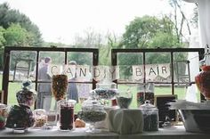 Wedding windows. Maybe put the windows behind the hot chocolate and coffee table?