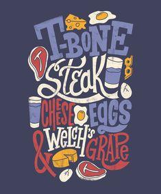 2/28: T-Bone Steak by Jay Roeder, freelance artist specializing in illustration, hand lettering, creative direction & design