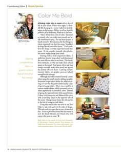 Charlotte UHM August/September 2012 Issue - Color Me Bold, by Beth Keim of Lucy & Co Interiors