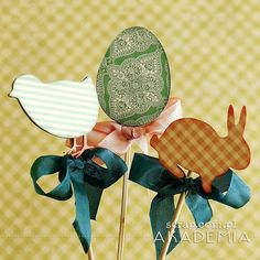 ozdoby wielkanocne na patyczkach Easter Projects, Scrap, Blog, Crafts, Decorations, Eggs, Craft Ideas, Author, Tat