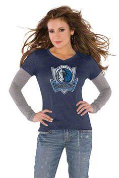 Touch by Alyssa Milano Dallas Mavericks Primary Logo Tri Blend Long Sleeve Layered T-Shirt