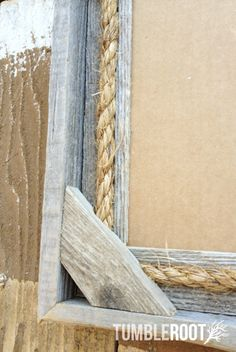 """Reclaimed, up-cycled, handmade rustic barnwood frame. With rope detail. 8x10"""" $30"""