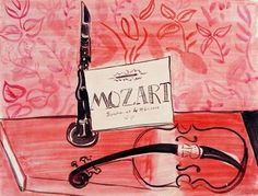 Violon, flûte et partitions de Mozart - Raoul Dufy - watercolor and ink